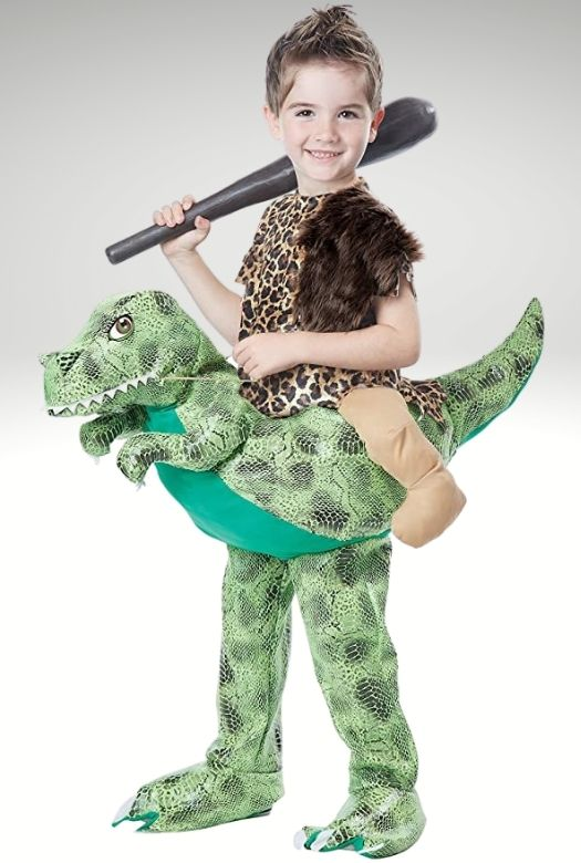 The dinosaur rider costume: DIY or purchased, as a caveman or modern jockey, a fun dinosaur Halloween costume (or Carnival costume)