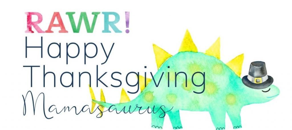 Happy Thanksgiving sign-off with stegosaurus in a pilgrim hat