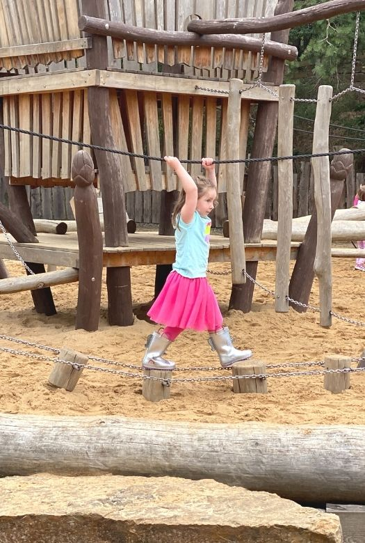 Lots for future paleontologists to do at Münchehagen Dinosaur Park: Playing in the dino-themed playground.