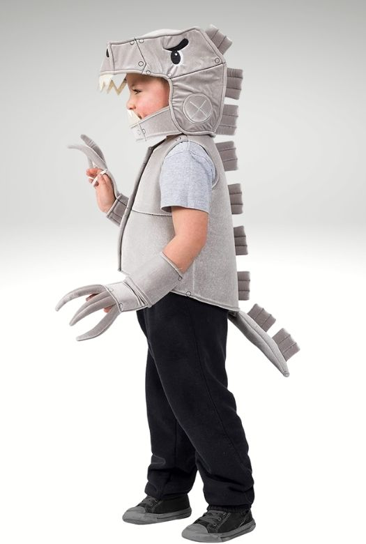 Another twist on the classic dinosaur Halloween costume: Robocalls Rex,  a robotic T-Rex costume. Buy one or make your own. Perfect  Halloween costumes for dinosaur fans of more modern dinosaurs.