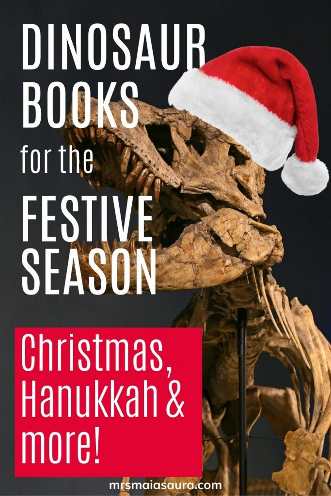 The best dinosaur books for the festive season! Dinosaur Christmas books, dinosaur Hanukkah books and more!