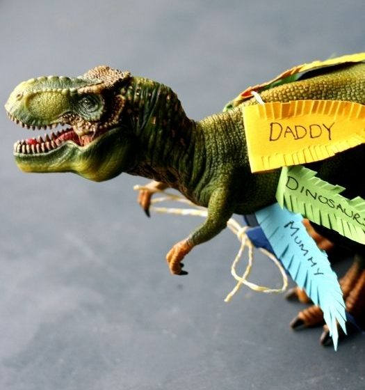RAWRsome thankful dinosaurs to make this Thanksgiving: with image of Tyrannosaurus Rex in a feathered thankful skirt