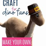 Thanksgiving craft for dinosaur fans: make your own dinosaur Pilgrim, with image of toy dinosaur in a Pilgrim hat