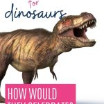 Thanksgiving for dinosaurs, how would dinosaurs celebrate Thanksgiving: pin with image of a T-Rex