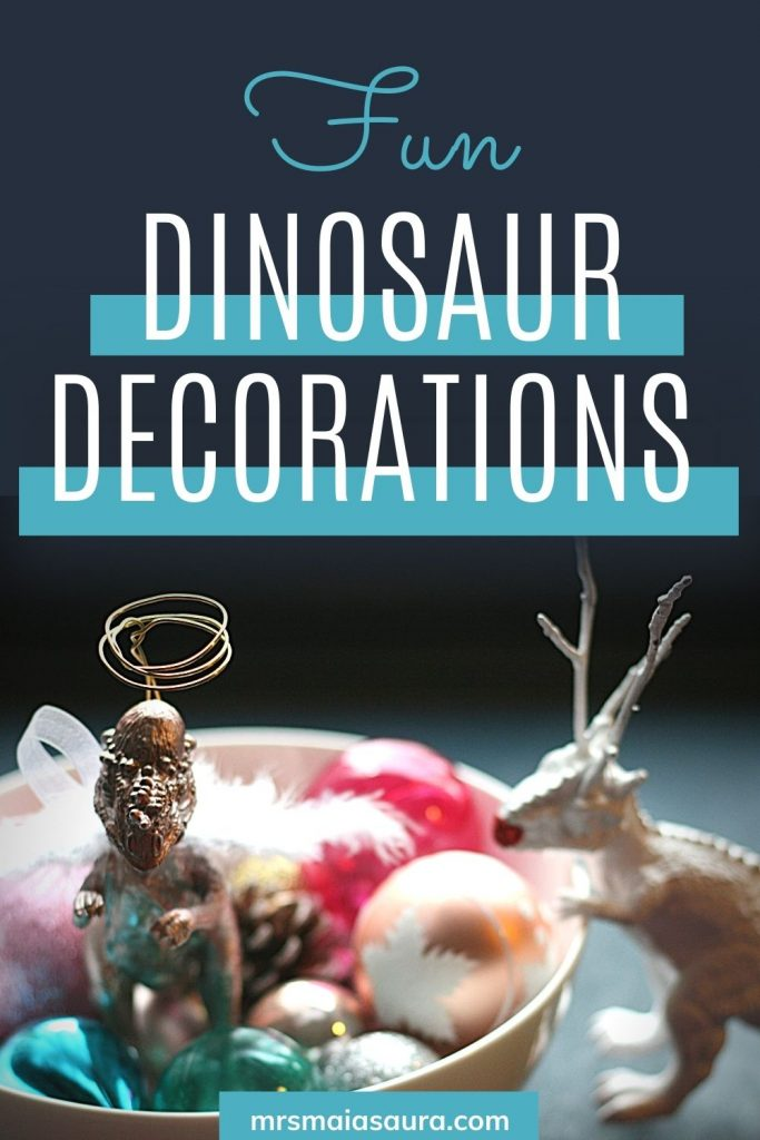 Fun and simple dinosaur Christmas decorations: with Angelsaur and Reindino in a bowl of ornaments