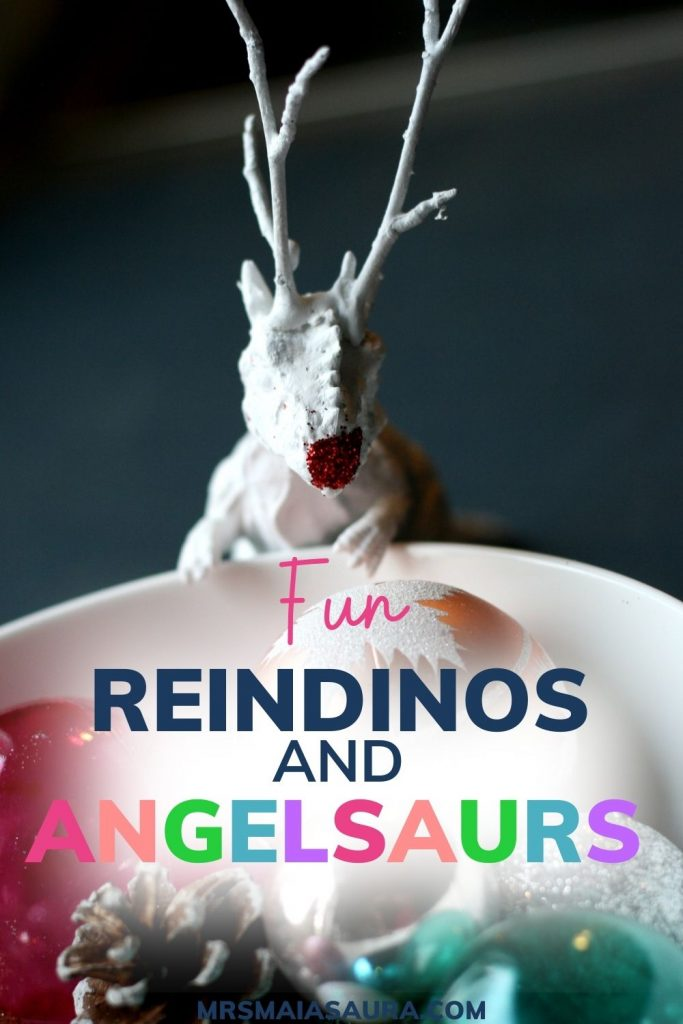 PIN: Fun Reindinos and Angelsaurs - simple dinosaur Christmas decoration ideas with image of a rending looking into a bowl of ornaments