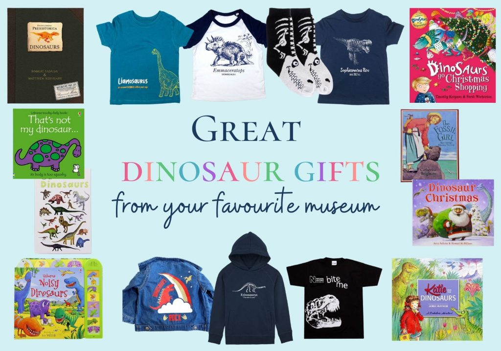 Great dinosaur gifts from your favourite museum - collage of books and clothing