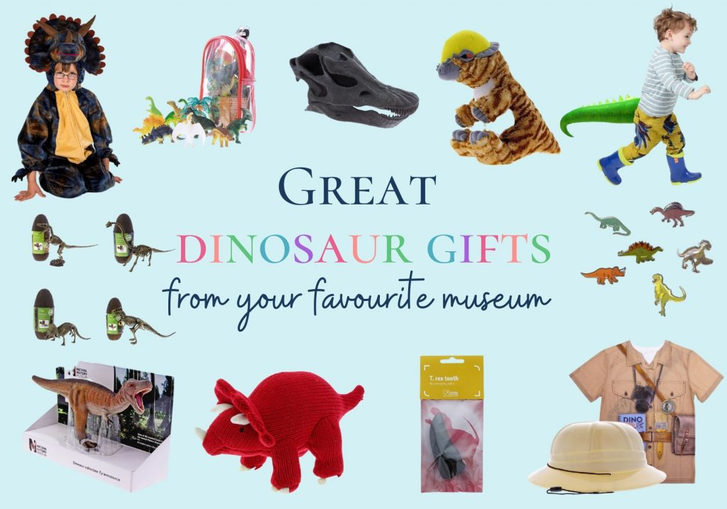 Great dinosaur gifts from your favourite museum: collage of toys and costumes