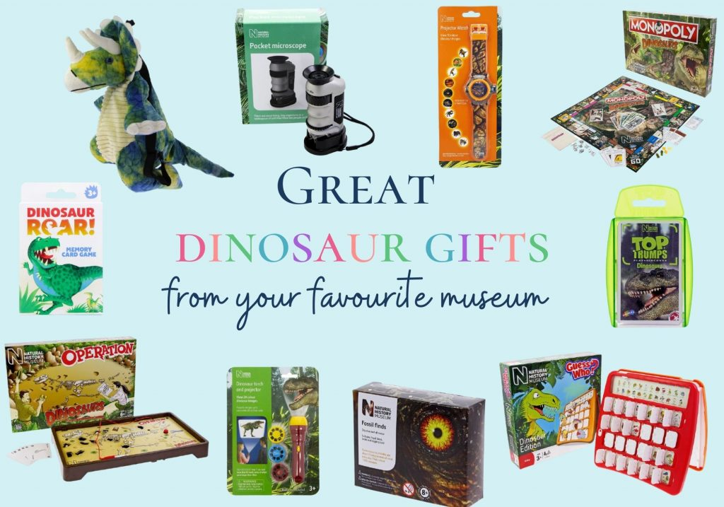 Great dinosaur gifts from your favourite museum: collage of board games and things to do experiments with