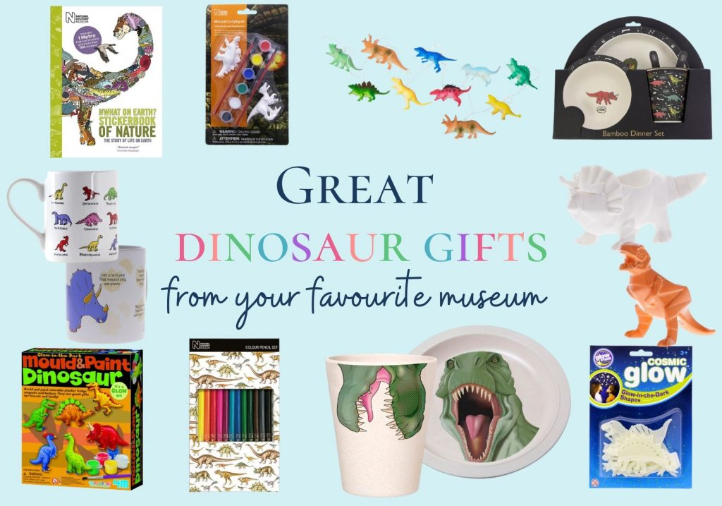 Great dinosaur gifts from your favourite museum - collage of homewares and craft supplies