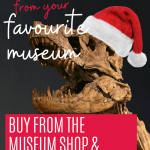 PIN: Dinosaur gifts from your favourite museum; buy from the museum shop and support the museum; with image of a T-Rex fossil in a Santa hat