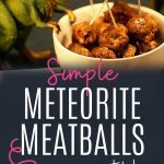 Pin: Simple Meteorite Meatballs - so simple, with an image of a T-Rex eyeing off a bowl of Meteorite Meatballs