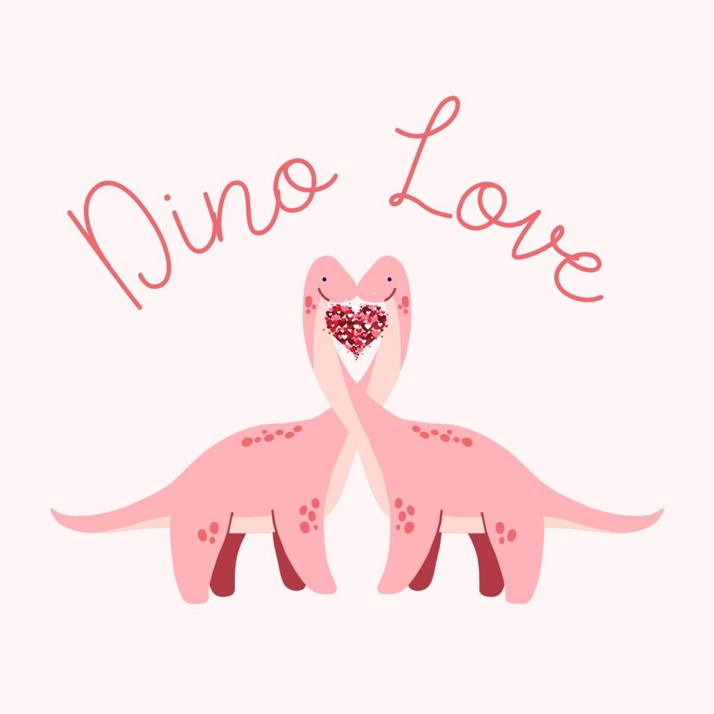 Dino Love with two pink dinosaurs with necks intertwined to form a love heart: free dinosaur Valentine's Day cards