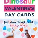 Pin: Free dinosaur Valentine's Day cards; just download, print and personalise, with image of two toy dinosaurs and lots of paper love hearts