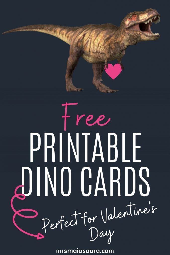 Pin: Free printable dino cards - Perfect for Valentine's Day, with an image of a T-Rex holding a love heart