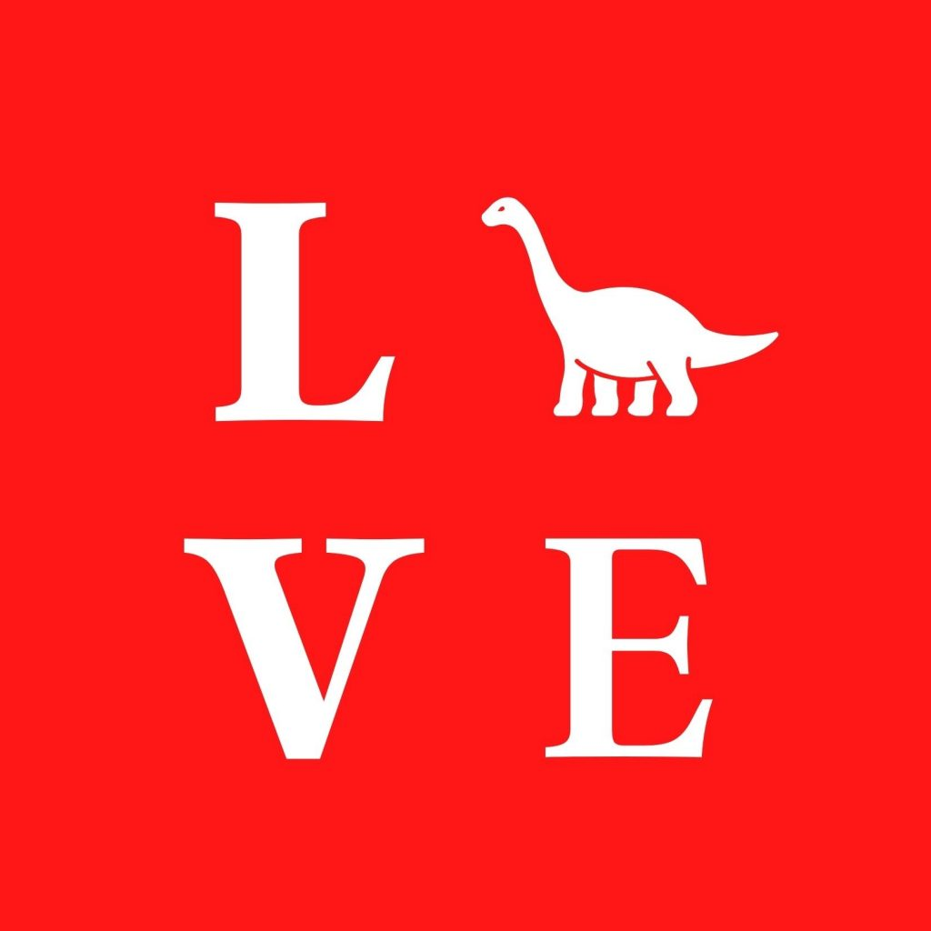 LOVE in white on a red background, with a dinosaur as the O: Free dinosaur Valentine's Day cards