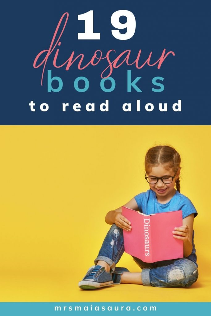 Pin: 19 dinosaur books to read aloud to little dinosaur fans: with image of a child reading