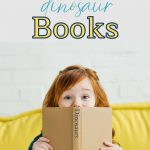 Pin: 19 imaginative dinosaur books, with an image of a little girl reading a book about dinosaurs