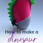 Pin: How to make a dinosaur egg cosy, with image of our pink Stegosaurus egg cosy, with back plates and tail spikes