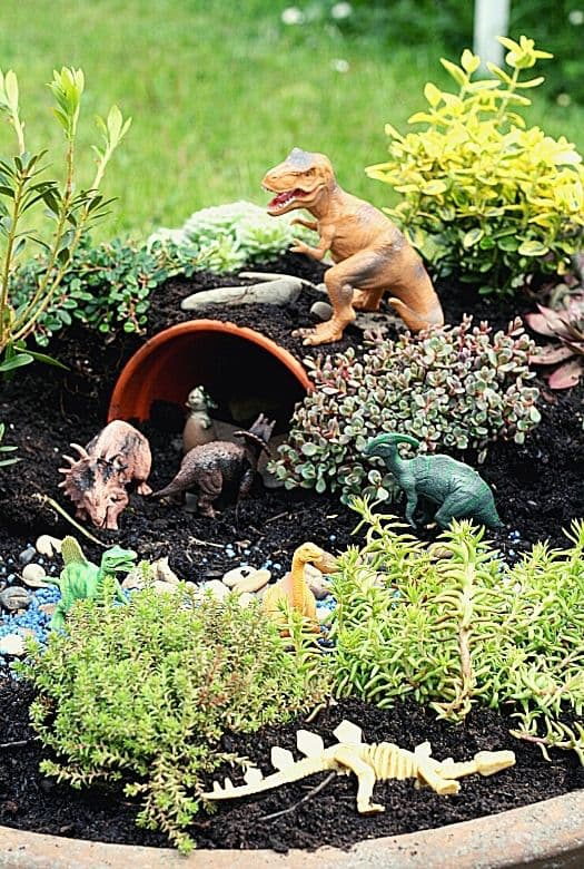 Our dinosaur garden, with various plants (obviously), a cave for a dinosaur nursery, a water feature and a dinosaur fossil pit