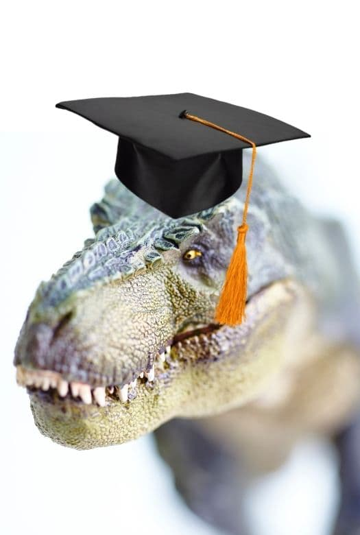 5 easy ways to celebrate graduation dino-style, with image of a Tyrannosaurus Rex in a graduation cap